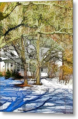 Traditional American Home In Winter Metal Print by Lanjee Chee