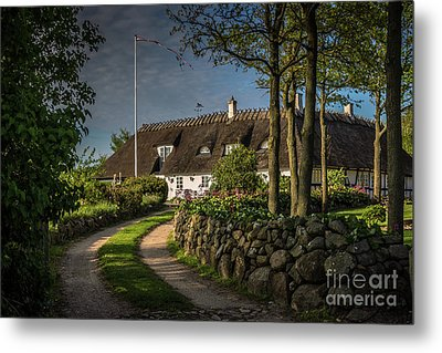 Traditional Danish House Under A Straw Roof Metal Print