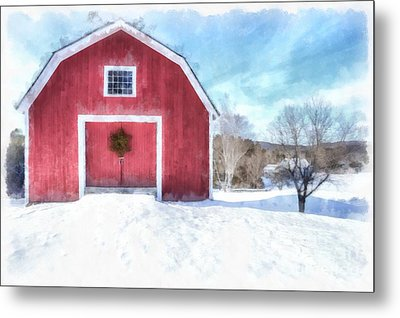 Traditional New England Red Barn In Winter Watercolor Metal Print by Edward Fielding