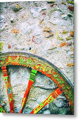 Metal Print featuring the photograph Traditional Sicilian Cart Wheel Detail by Silvia Ganora
