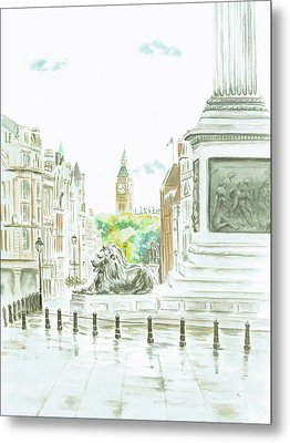 Metal Print featuring the painting Trafalgar Square by Elizabeth Lock