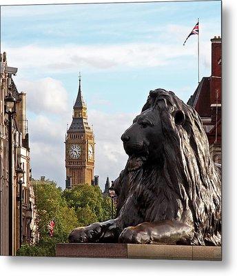 Trafalgar Square Lion With Big Ben Metal Print