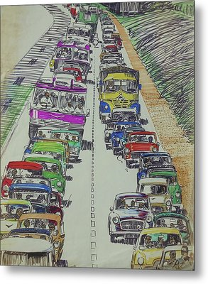 Metal Print featuring the drawing Traffic 1960s. by Mike Jeffries