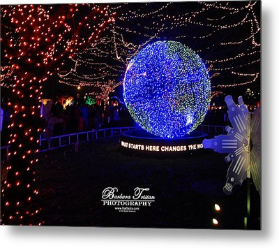 Trail Of Lights World #7359 Metal Print by Barbara Tristan