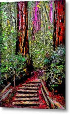 Metal Print featuring the digital art Trail Through The Redwoods - Tamalpais California by Joel Bruce Wallach