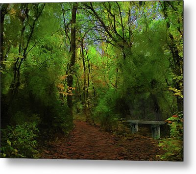 Trailside Bench Metal Print
