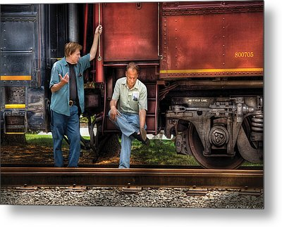 Train - Yard - Shoot'in The Breeze Metal Print by Mike Savad