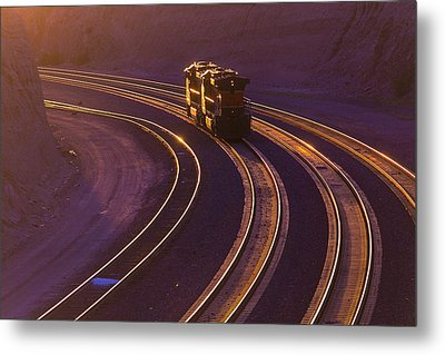 Train At Sunset Metal Print by Garry Gay