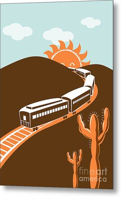 Train Desert Cactus Metal Print by Aloysius Patrimonio