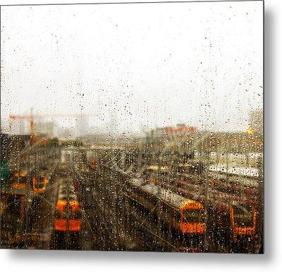Train In The Rain Metal Print