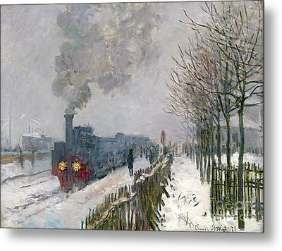 Train In The Snow Or The Locomotive Metal Print