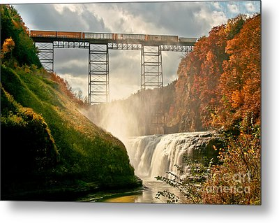 Train Over Letchworth Metal Print by Ken Marsh