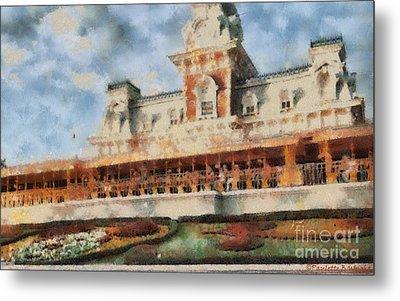 Train Station At Magic Kingdom Metal Print by Paulette B Wright