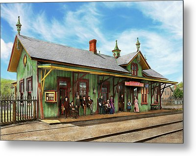 Metal Print featuring the photograph Train Station - Garrison Train Station 1880 by Mike Savad