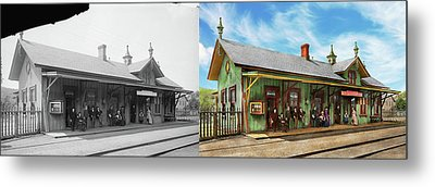 Metal Print featuring the photograph Train Station - Garrison Train Station 1880 - Side By Side by Mike Savad