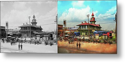 Train Station - Louisville And Nashville Railroad 1905 - Side By Metal Print by Mike Savad