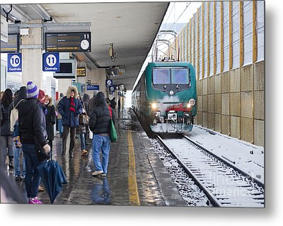 Train Station Under The Snow Metal Print by Andre Goncalves
