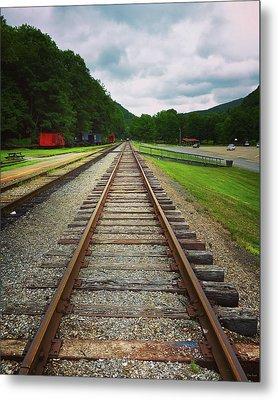 Metal Print featuring the photograph Train Tracks by Linda Sannuti