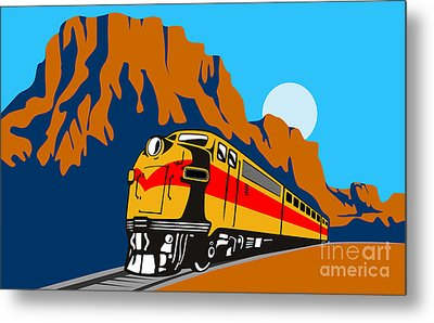 Train Traveling With Canyon Metal Print by Aloysius Patrimonio