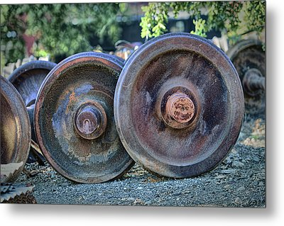 Metal Print featuring the photograph Train Wheels by Steve Siri