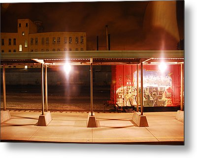 Trains At Night Metal Print