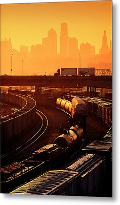 Trains At Sunrise Metal Print by Don Wolf