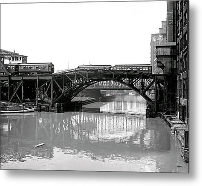 Metal Print featuring the photograph Trains Cross Jack Knife Bridge - Chicago C. 1907 by Daniel Hagerman