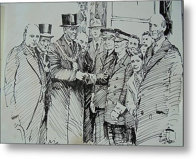 Metal Print featuring the drawing Tram Drivers Retirement. by Mike Jeffries
