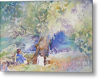 Metal Print featuring the painting Tranquility At The Brandywine River by Mary Haley-Rocks