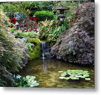 Metal Print featuring the photograph Tranquility In A Japanese Garden by Laurel Talabere