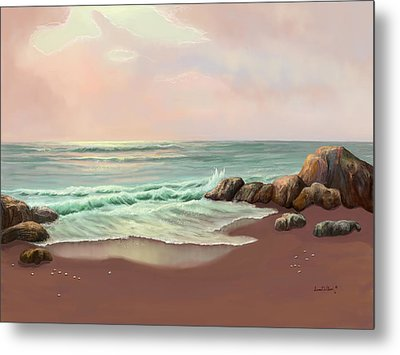 Metal Print featuring the painting Tranquility Of The Sea by Sena Wilson