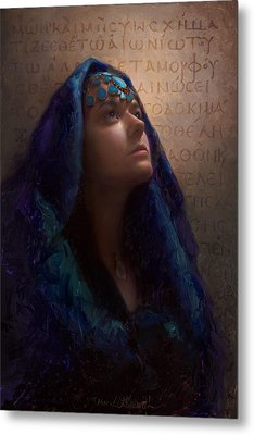 Transformation - Woman With Romans 12 2 Written In Original Greek  Metal Print by Karen Whitworth