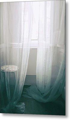 Transparent White Curtains Metal Print by Carlos Caetano