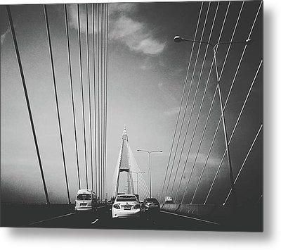 Transportation On Suspension Bridge Metal Print