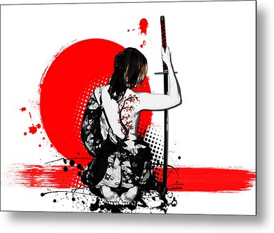 Trash Polka - Female Samurai Metal Print by Nicklas Gustafsson