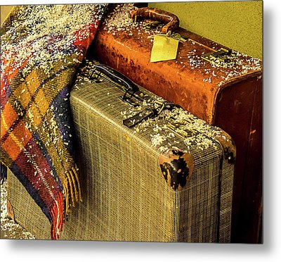 Traveling Vintage Bags Blanket And Snow Metal Print by Julie Palencia