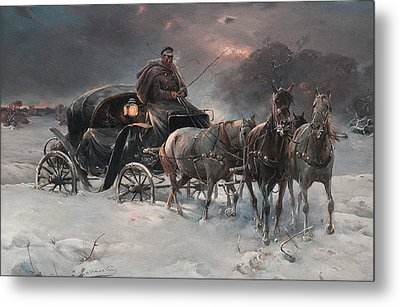 Traveller On A Winter Night Metal Print