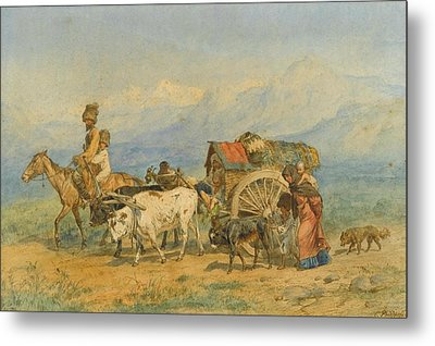 Travellers In A Caucasian Landscape Metal Print by MotionAge Designs