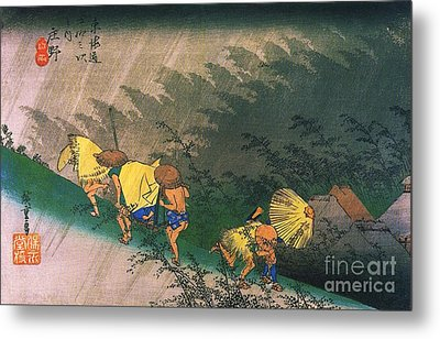 Travellers Surprised By Rain Metal Print by Pg Reproductions