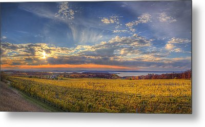 Traverse City From Old Mission At Sunset Metal Print by Twenty Two North Photography