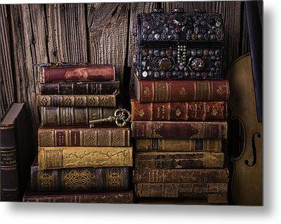 Treasure Box On Old Books Metal Print by Garry Gay