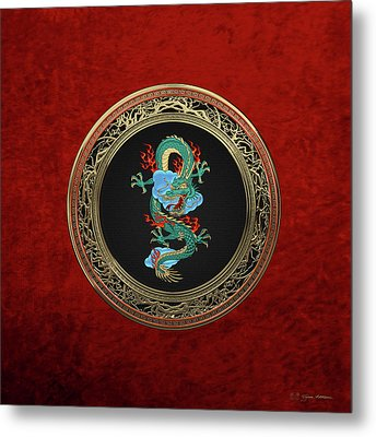 Treasure Trove - Turquoise Dragon Over Red Velvet Metal Print by Serge Averbukh