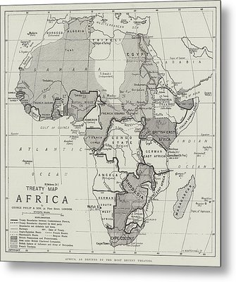 Treaty Map Of Africa Metal Print by English School
