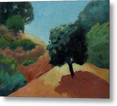 Metal Print featuring the painting Tree Alone by Gary Coleman