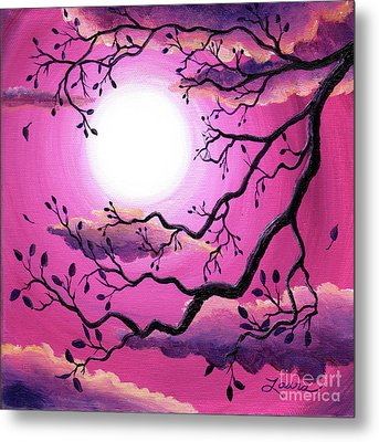 Tree Branch In Pink Moonlight Metal Print by Laura Iverson