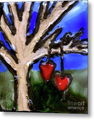 Metal Print featuring the painting Tree Hearts by Genevieve Esson