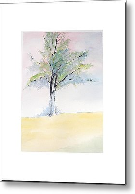 Metal Print featuring the painting Tree In Pastel Colors by Sibby S