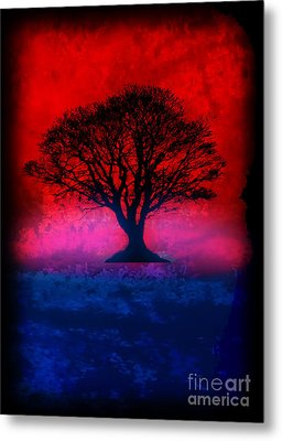 Tree Of Life - Red Sky Metal Print by Robert R Splashy Art
