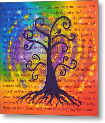 Tree Of Life And Positive Affirmations Metal Print by Agata Lindquist