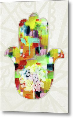 Tree Of Life Hamsa- Art By Linda Woods Metal Print by Linda Woods
